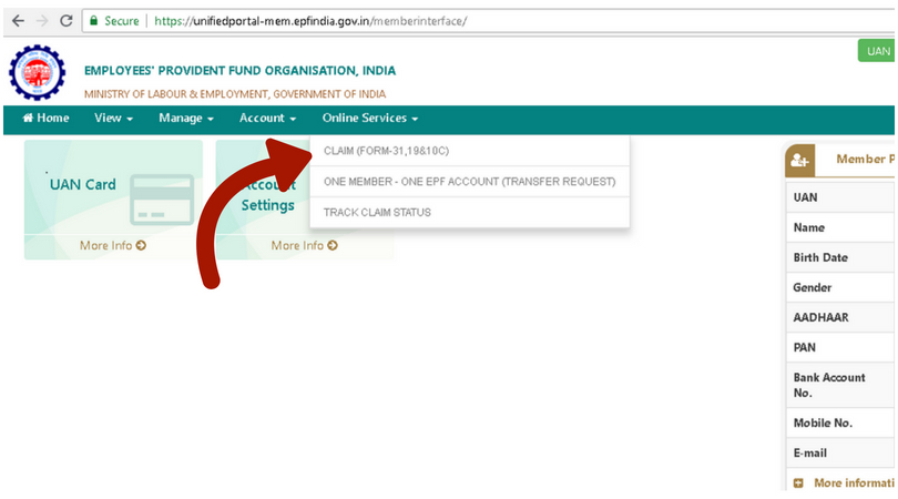 Online services tab, claim- PF withdrawal