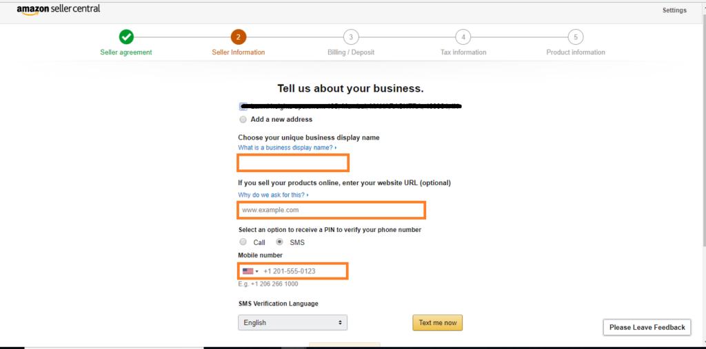 Seller Registration Step6- Amazon seller