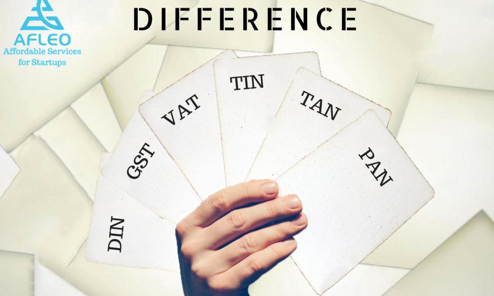 Difference between PAN, TAN, TIN, VAT, GST, DIN