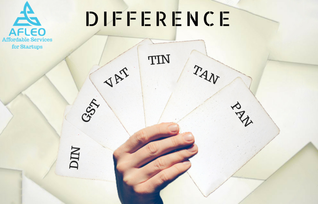 Difference between PAN, TAN, TIN, VAT, GST, DIN