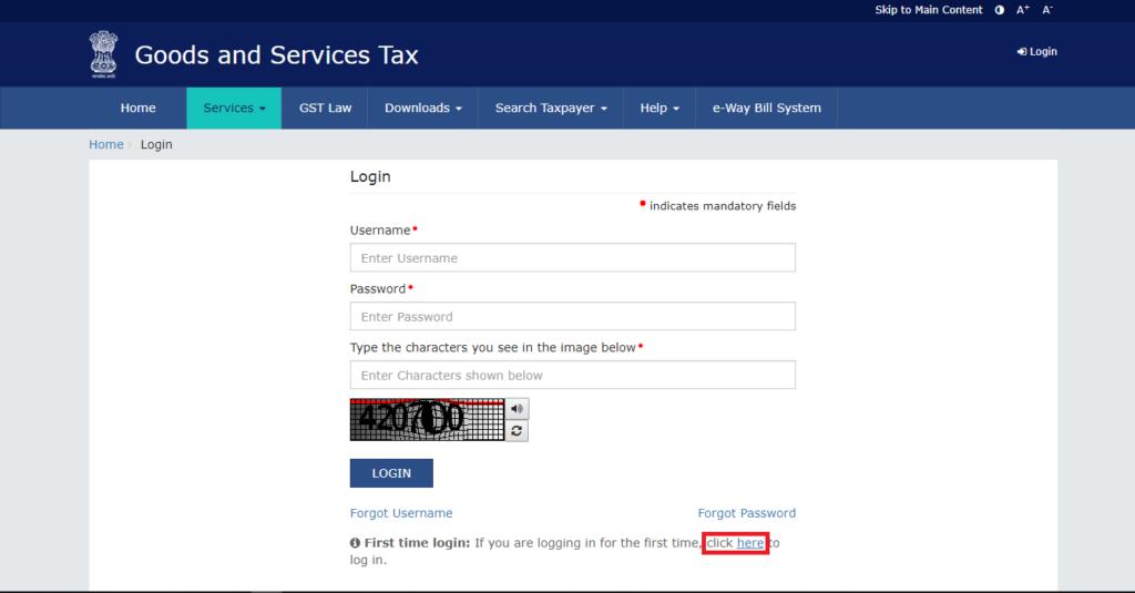 Second step for new user- GST Portal Login