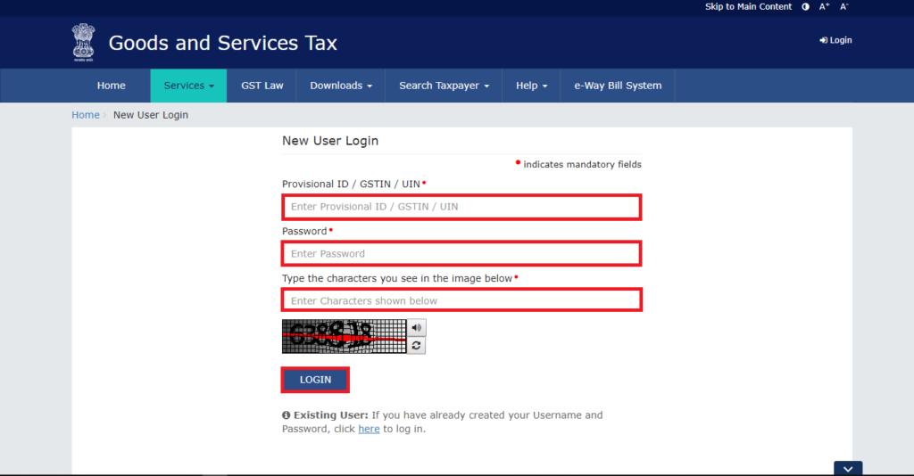 Step 3 for new user- GST Portal Login