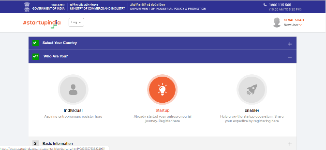 Startup India Registration Step-2