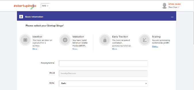 Startup India Registration Step-3